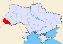 Map of the Zakarpattia Oblast of Ukraine